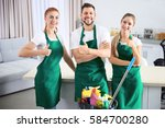 cleaning service team at work... | Shutterstock . vector #584700280