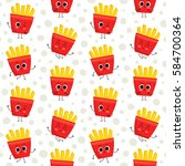 french fries  vector seamless... | Shutterstock .eps vector #584700364