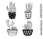 vector set with black and white ... | Shutterstock .eps vector #584702194