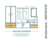 vector hallway interior design... | Shutterstock .eps vector #584704159
