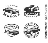 muscle car logo set. car icon.... | Shutterstock .eps vector #584710648