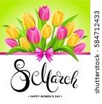 8 march banner with handwritten ... | Shutterstock .eps vector #584712433