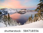 Crater Lake  Oregon At Sunset...