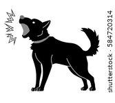 monochromatic dog which barks | Shutterstock .eps vector #584720314
