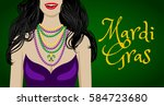 mardi gras greeting card with... | Shutterstock .eps vector #584723680