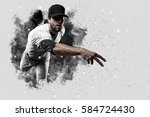 pitcher baseball player with a... | Shutterstock . vector #584724430