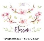 watercolor boho blossom flower... | Shutterstock . vector #584725234