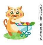 satisfied cat rolls the...   Shutterstock .eps vector #584726260