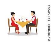 candle light dinner vector... | Shutterstock .eps vector #584729038