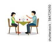 candle light dinner vector... | Shutterstock .eps vector #584729050