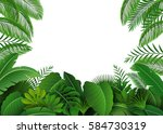 background of tropical leaves.... | Shutterstock .eps vector #584730319