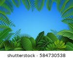 background of tropical leaves.... | Shutterstock .eps vector #584730538