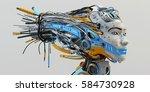 fashionable robot geisha with... | Shutterstock . vector #584730928
