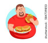 full man in a red shirt eating... | Shutterstock .eps vector #584739853