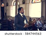 church people believe faith... | Shutterstock . vector #584744563