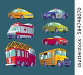cartoon set of isolated icons... | Shutterstock .eps vector #584748070