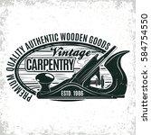 vintage woodworking logo design ... | Shutterstock .eps vector #584754550