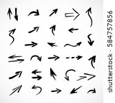 hand drawn arrows  vector set | Shutterstock .eps vector #584757856