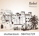 morocco attractions.  sketch.... | Shutterstock .eps vector #584761729