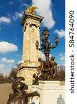 Small photo of Bronze lamps on Alexander III Bridge, Paris, France