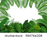 background of tropical leaves.... | Shutterstock . vector #584766208