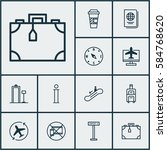 set of 12 airport icons.... | Shutterstock . vector #584768620