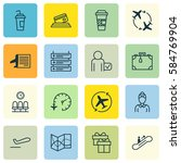 set of 16 transportation icons. ... | Shutterstock . vector #584769904