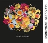 vector cartoon vector hand... | Shutterstock .eps vector #584772544