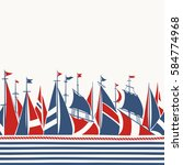 retro border with sailing ships.... | Shutterstock .eps vector #584774968