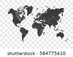 illustrated world map with the... | Shutterstock . vector #584775610