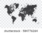 illustrated world map with the... | Shutterstock . vector #584776264