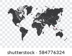 illustrated world map with the... | Shutterstock . vector #584776324