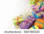 colored gift boxes with... | Shutterstock . vector #584780320