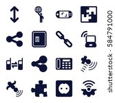 connection icons set. set of 16 ... | Shutterstock .eps vector #584791000