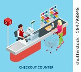 isometric checkout counter.... | Shutterstock .eps vector #584798848