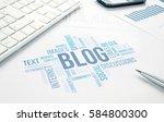 blog concept word cloud chart... | Shutterstock . vector #584800300