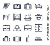 baggage icons set. set of 16... | Shutterstock .eps vector #584807014