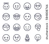 cheerful icons set. set of 16... | Shutterstock .eps vector #584808766