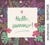 vector image with text hello... | Shutterstock .eps vector #584809528