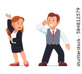 dancing business people man and ...   Shutterstock .eps vector #584812579