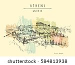 parthenon temple and the... | Shutterstock .eps vector #584813938