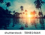 silhouettes of palm trees... | Shutterstock . vector #584814664