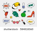 vector set of badges  icons ... | Shutterstock .eps vector #584818360
