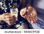 senior take pills medicine... | Shutterstock . vector #584819938