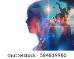 double exposure image of... | Shutterstock . vector #584819980