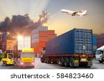 forklift handling container box ... | Shutterstock . vector #584823460