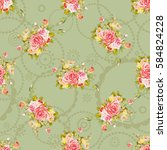 seamless floral pattern with...   Shutterstock .eps vector #584824228