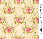 seamless floral pattern with... | Shutterstock .eps vector #584824240