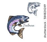 Salmon Sketch Vector Fish Icon. ...
