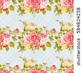 seamless floral pattern with... | Shutterstock .eps vector #584824258